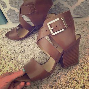 Stylish Tan Michael Kors heels. Only worn once!
